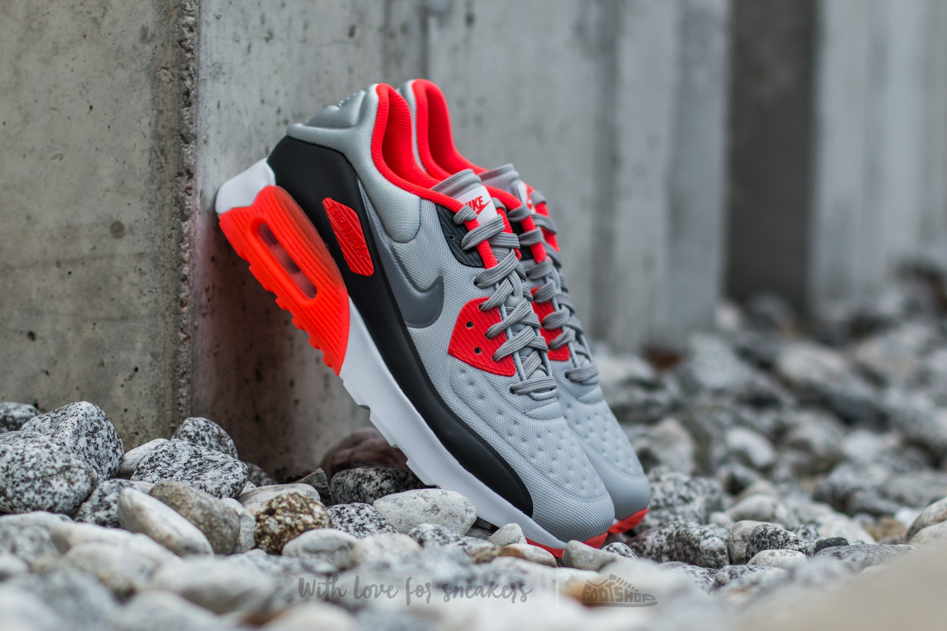 Nike Air Max 90 (GS) Ultra SE Wolf Grey/ Cool Grey-Bright Crimson-Black
