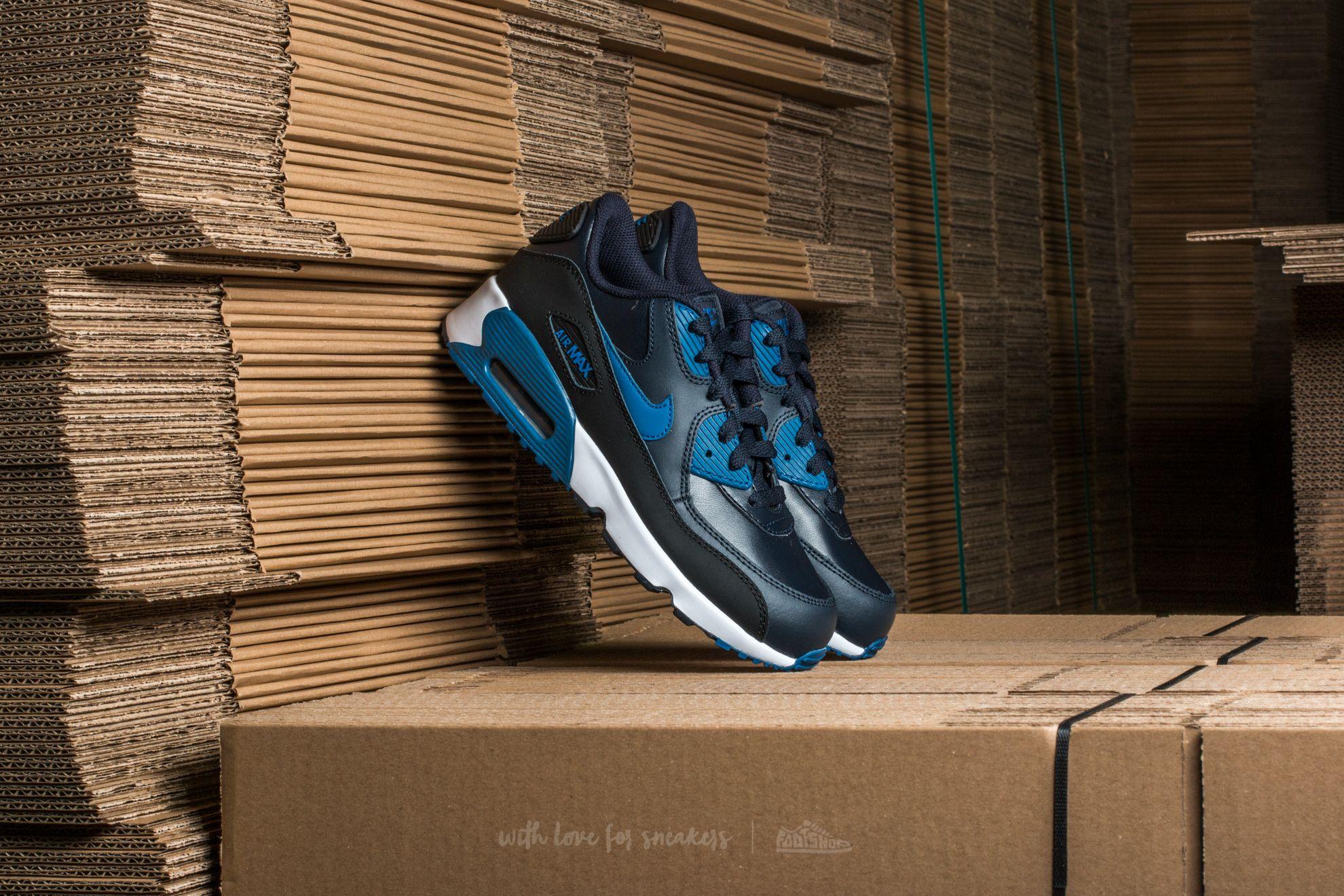 Nike Air Max 90 Leather (PS) Dark Obsidian/ Court Blue-Black