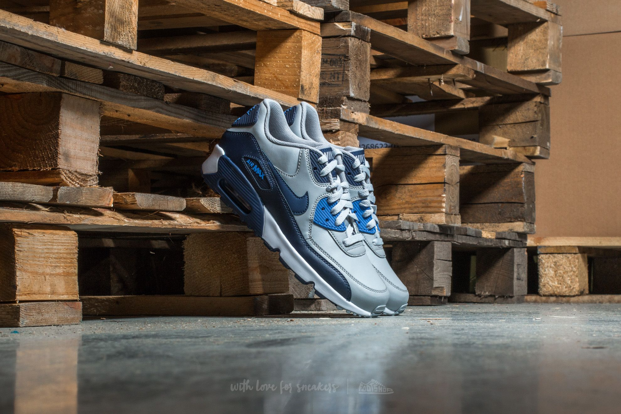Nike Air Max 90 Leather (GS) Wolf Grey/ Binary Blue