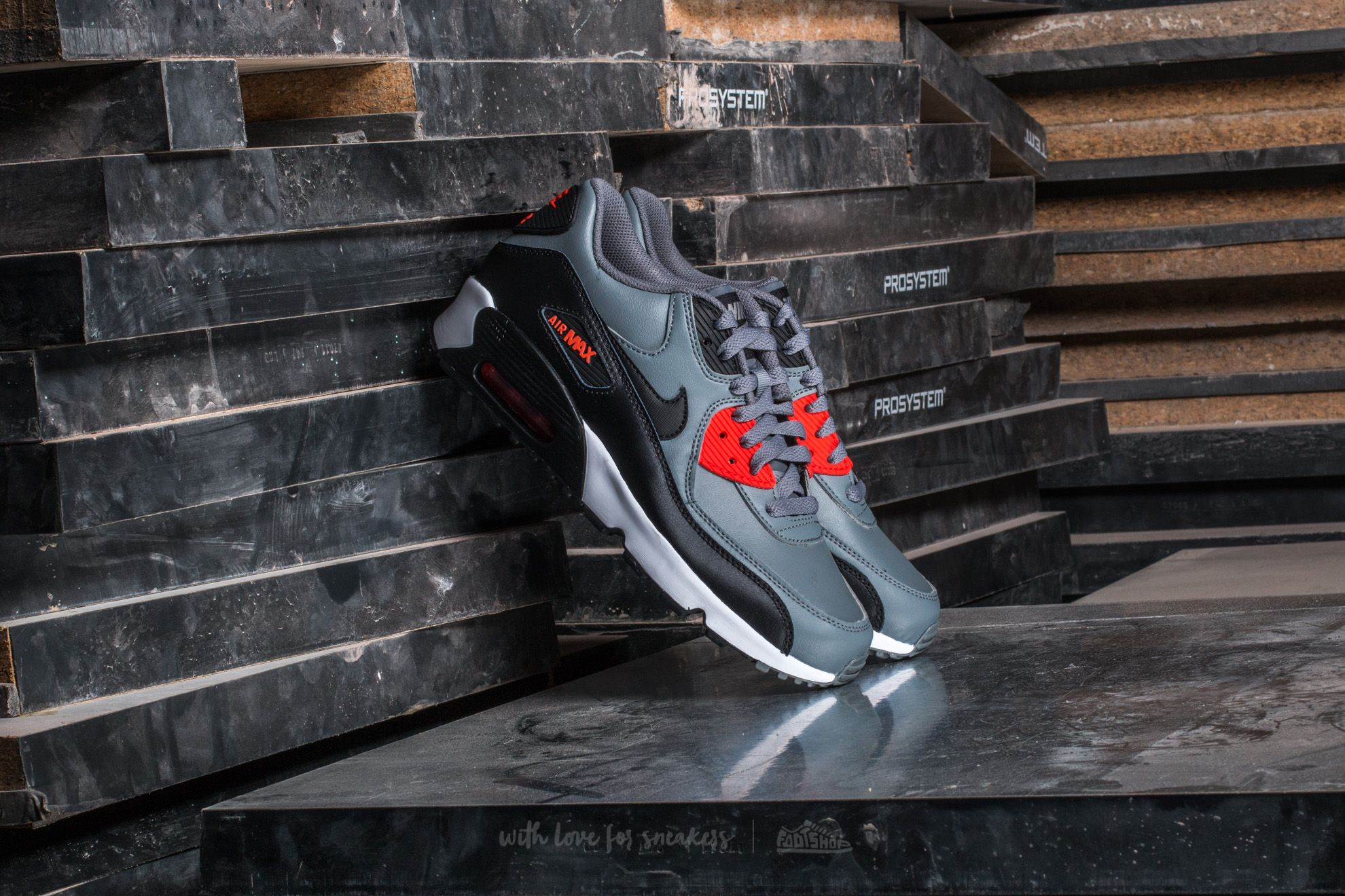Nike Air Max 90 Leather (GS) Cool Grey/ Black-Max Orange