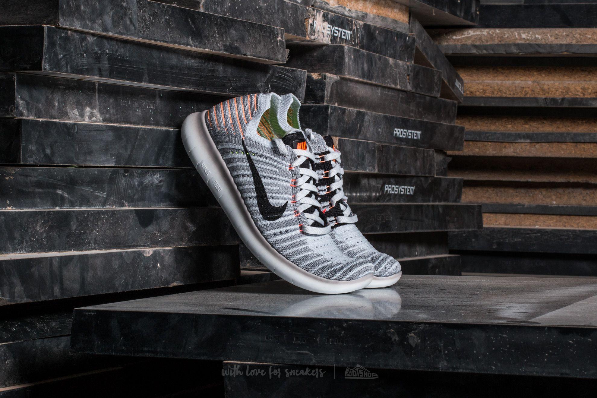 Nike Wmns Free Run Flyknit Wolf Grey/ Black-Bright Mango