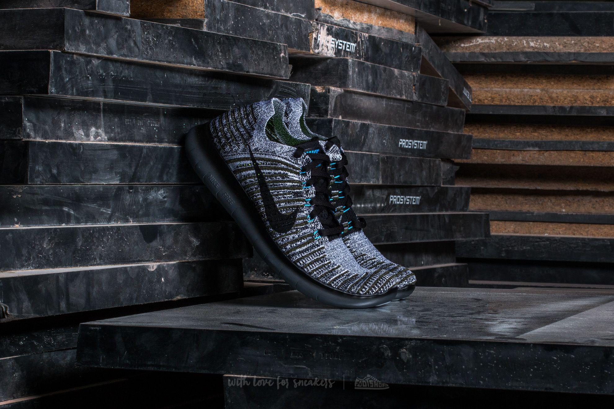 Nike Free Run Flyknit Cargo Khaki/ Black-Blue Glow