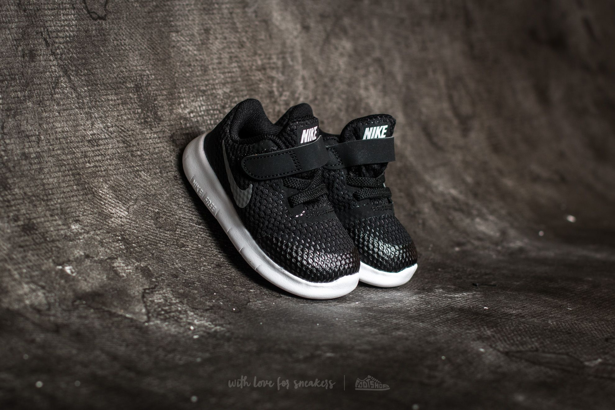 Nike Free Run (TDV) Black/ Metallic Silver