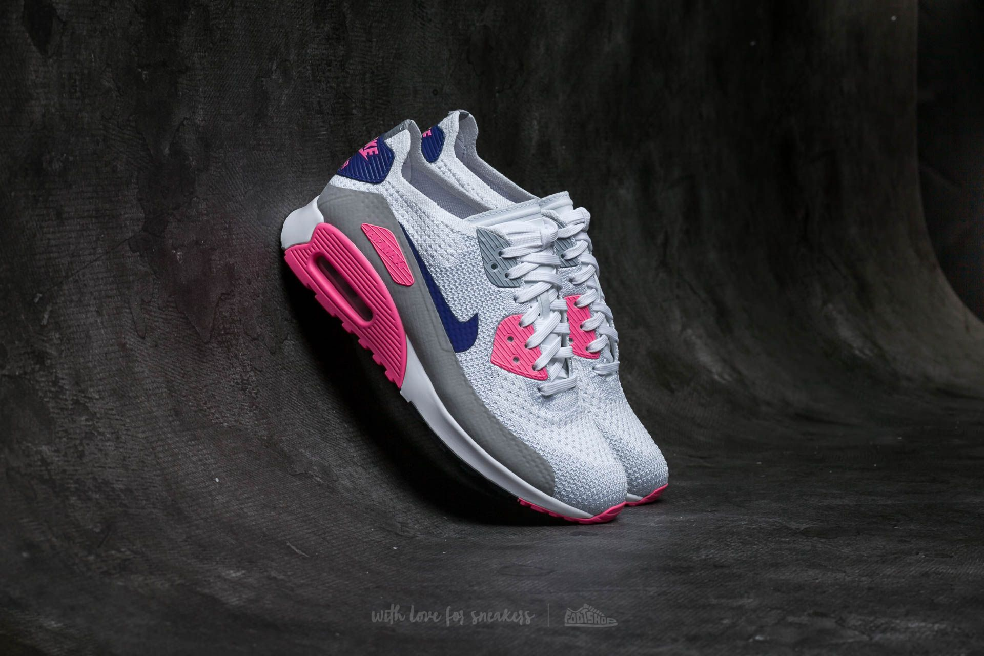 Nike W Air Max 90 Ultra 2.0 Flyknit White/ Concord-Laser Pink-Black