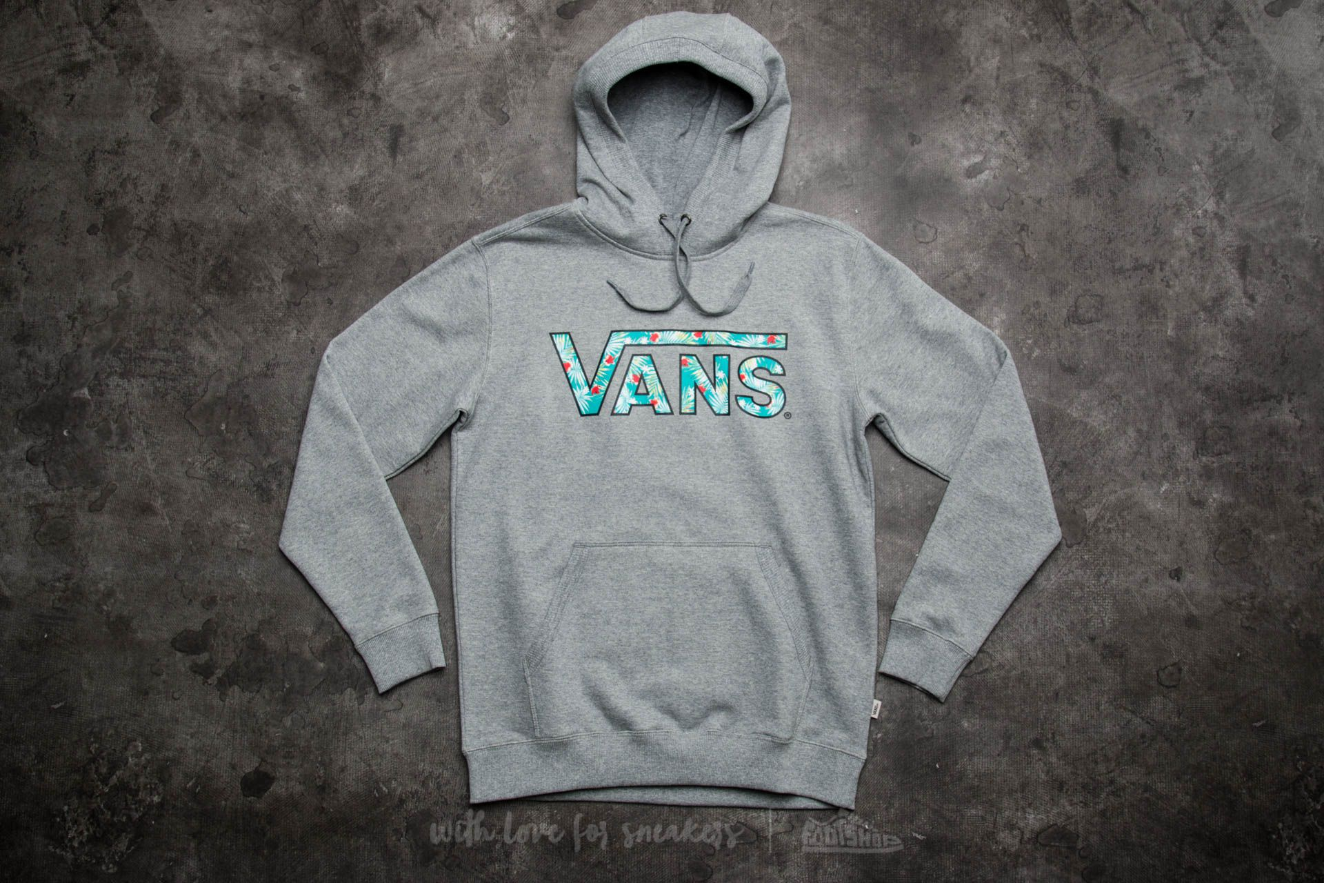Vans Classic Pullover Hoodie Cement Heather-Baltic Decay Palm