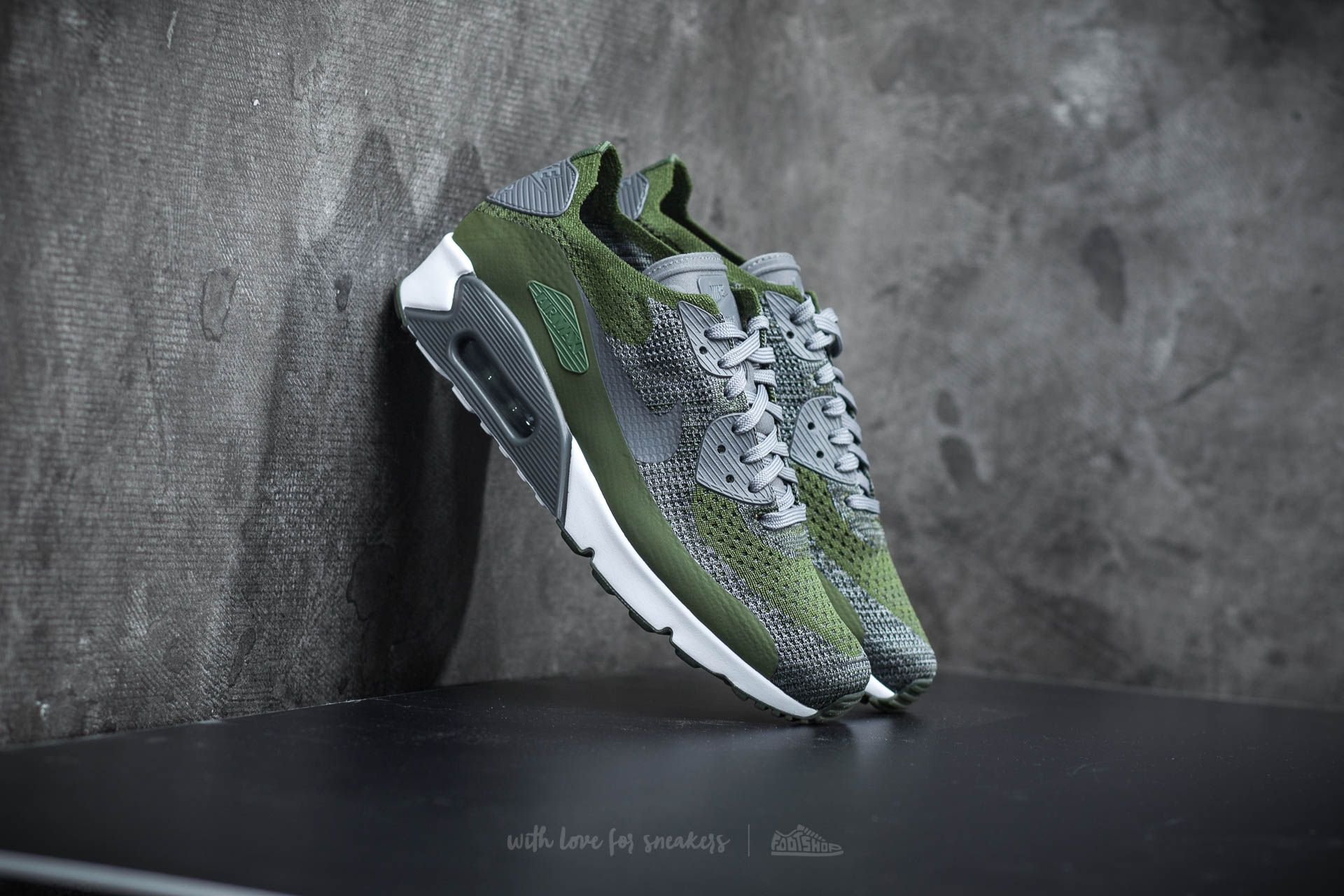 Nike Air Max 90 Ultra 2.0 Flyknit Rough Green/ Dark Grey-White