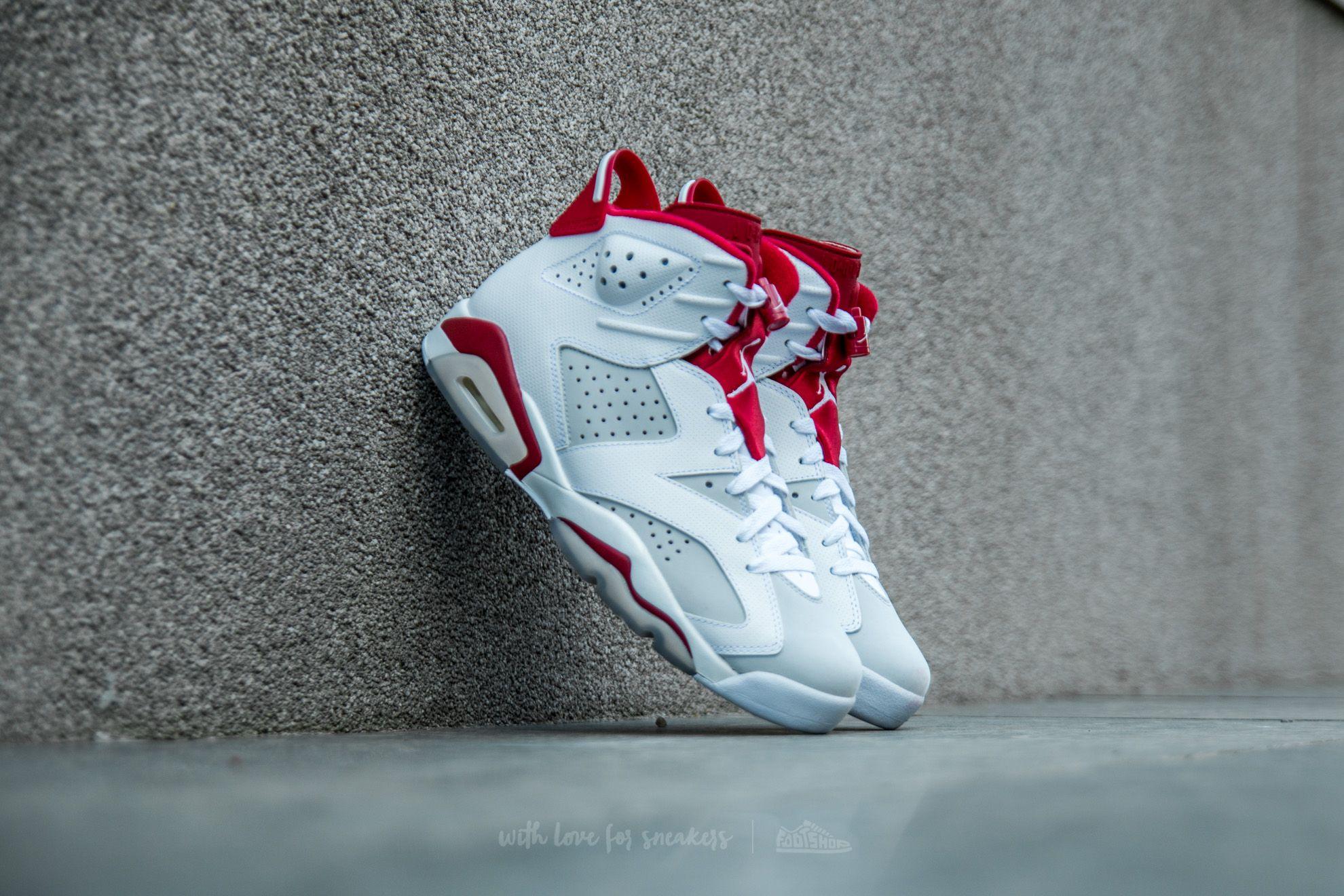 Air Jordan 6 Retro White/ Gym Red-Pure Platinum