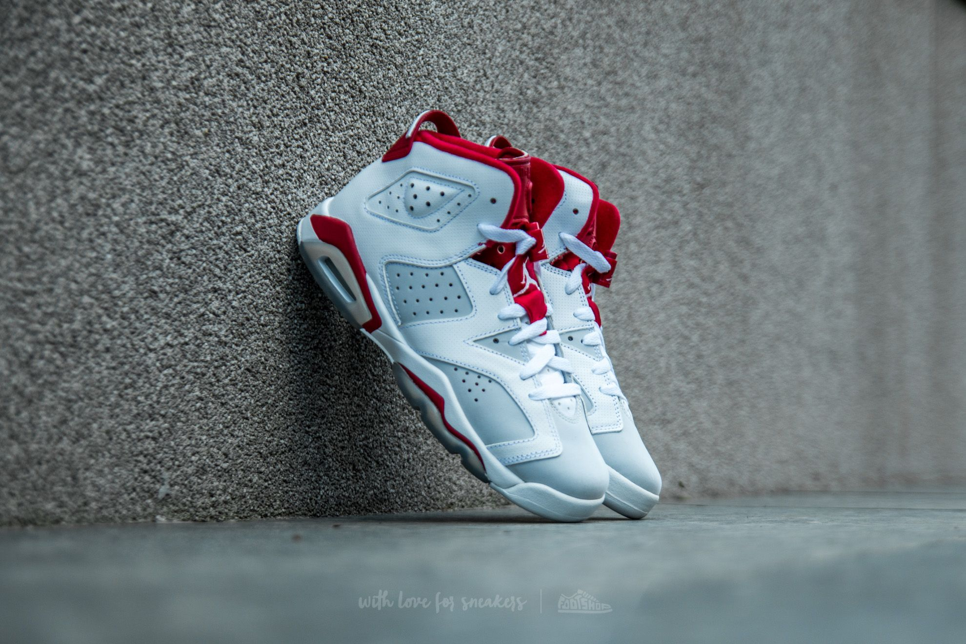 Air Jordan 6 Retro BG White/ Gym Red-Pure Platinum