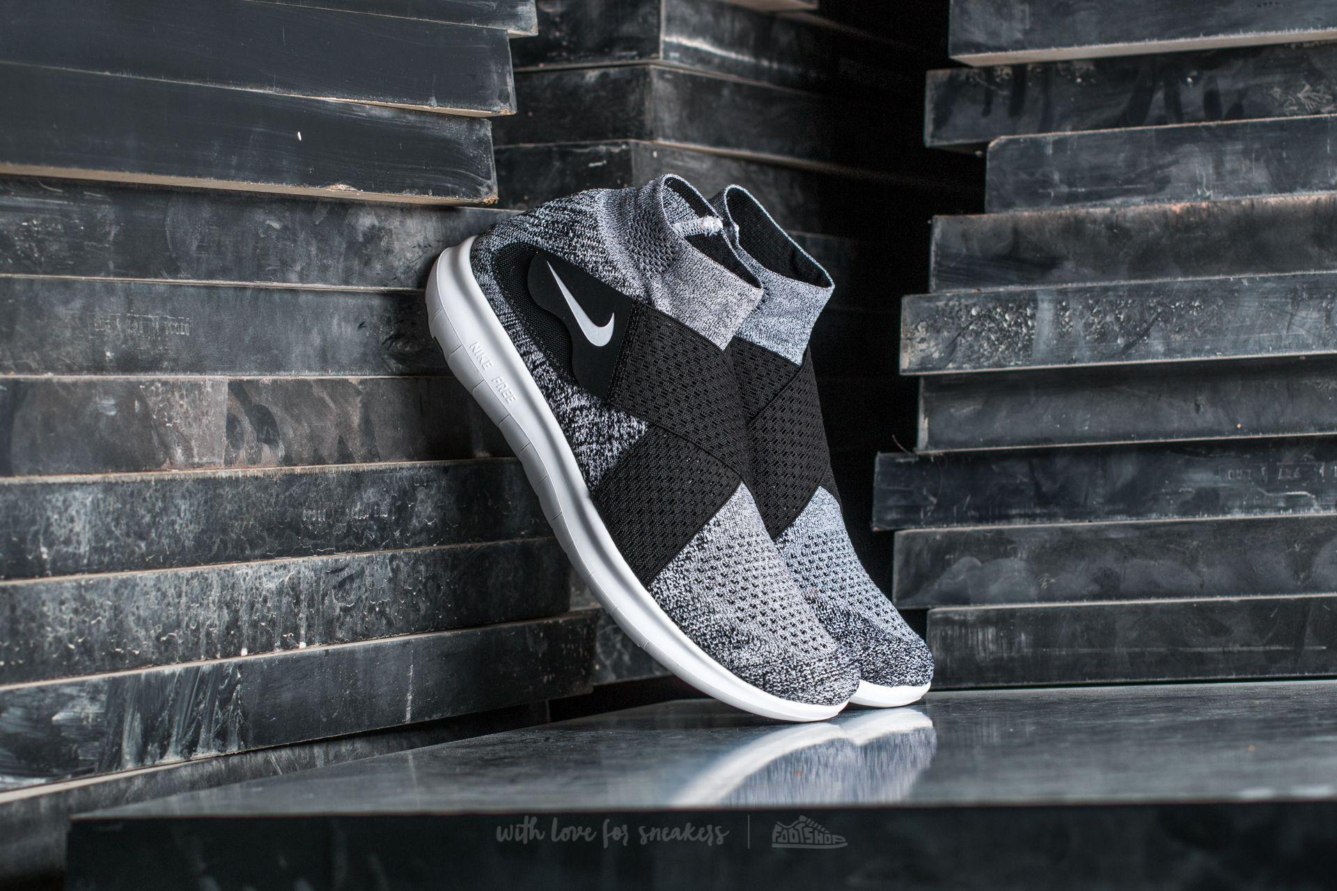 Nike Free Run Motion Flyknit 2017 Black/ White-Pure Platinum