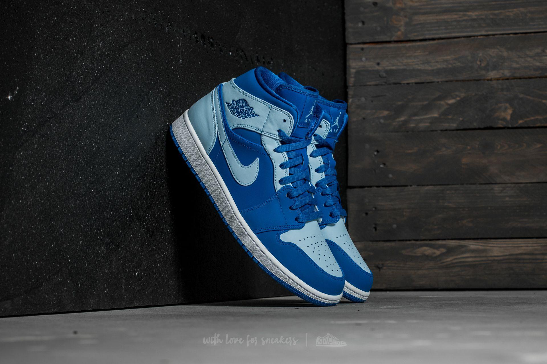 Air Jordan 1 Mid Team Royal/ Ice Blue-White
