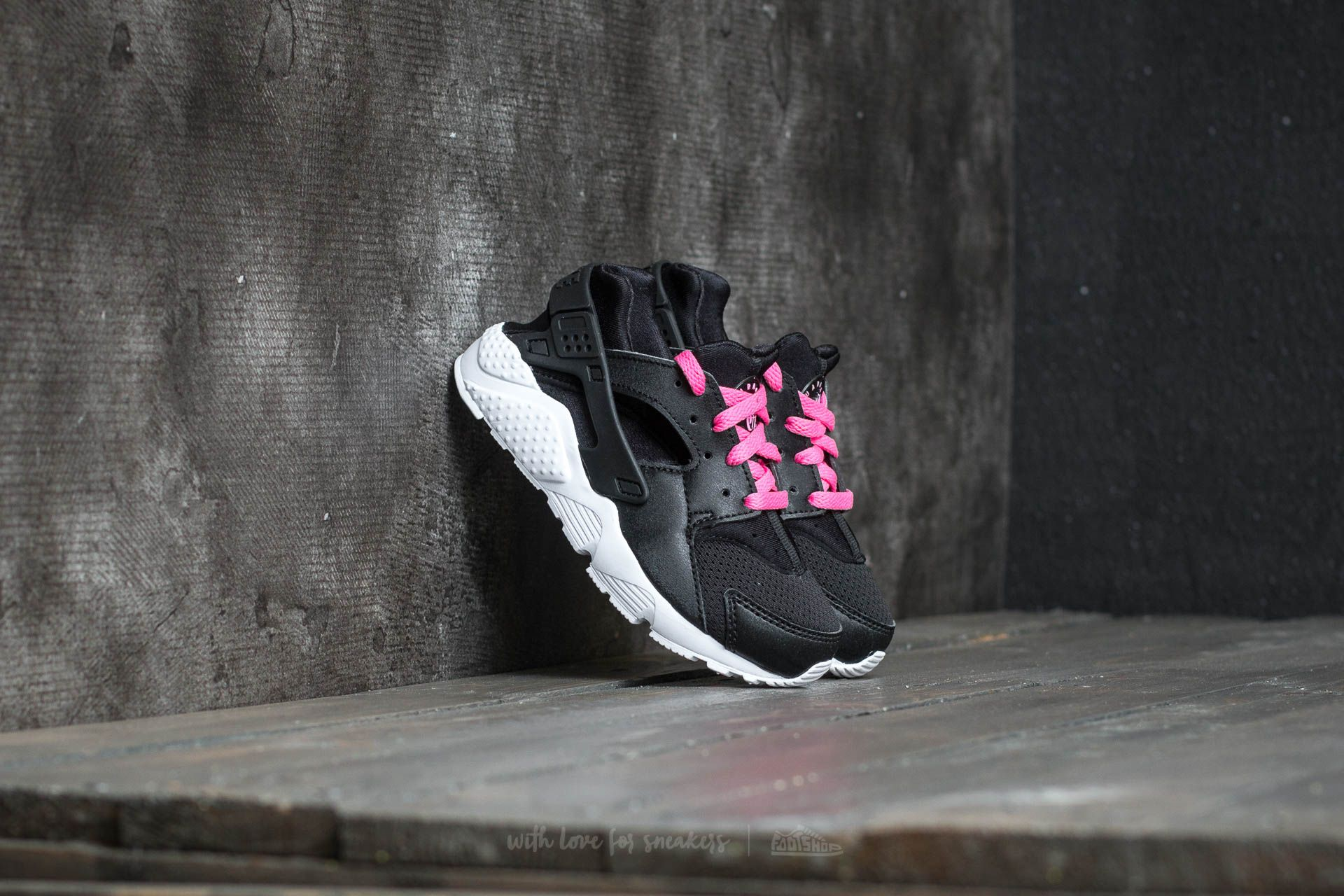 Nike Huarache Run (PS) Black/ White-Pink Blast