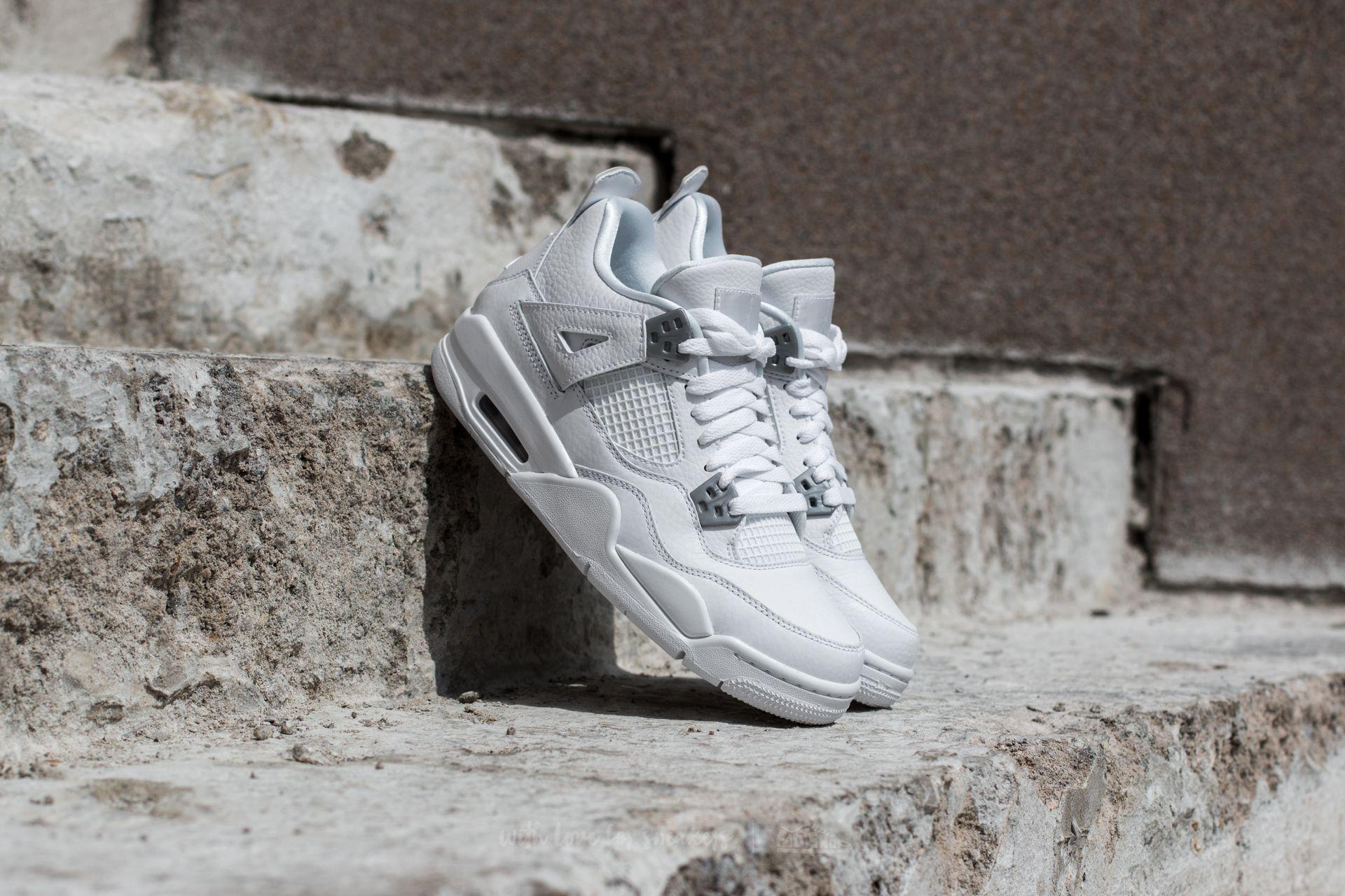 Air Jordan 4 Retro BG 'Pure Money' White/ Metallic Silver
