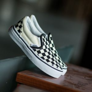 Vans K Classic Slip-On (Checkerboard) Black/ White
